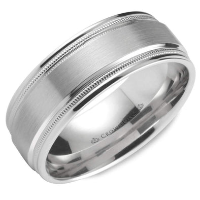 Gents 14K WG Wedding Band w/ Brushed Center & Milgrain Detailing WB-9844 (8mm)