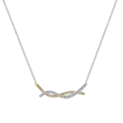 Gabriel NY 14k Intertwined Gold modern Twist Diamond Necklace