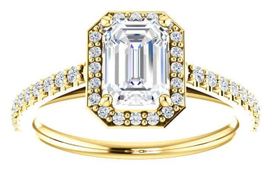 14K Contemporary High Cathedral Diamond Halo Engagement Ring