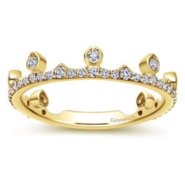 Gabriel NY 14k Yellow Gold Ladies Royal Crown Diamond Stackable Ring