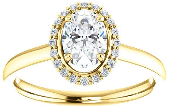 14K Yellow Gold Contemporary Moissanite Oval Diamond Halo Engagement Ring