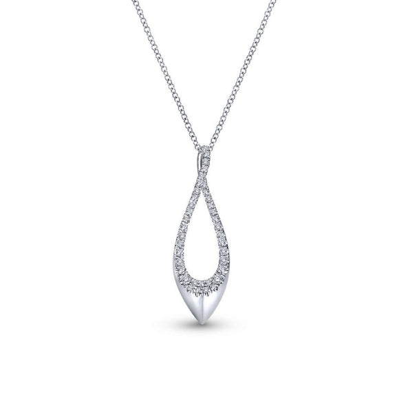 Gabriel NY 14k White Gold Ladies Sculptural Oblong Diamond Necklace