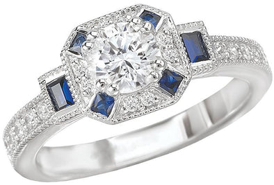 14K Vintage Sapphire Accent Diamond Halo Engagement Ring