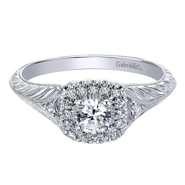 14k Designer Cushion Halo Filigree Diamond Engagement Ring NEW Sz 6.5 .67ct. tw.