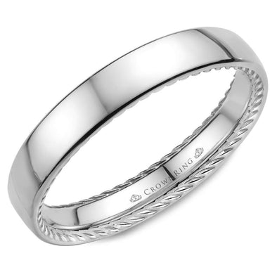 14K WG Wedding Band w/ Polished Finish & Hidden Rope Detailing WB-012R35W (3.5mm)
