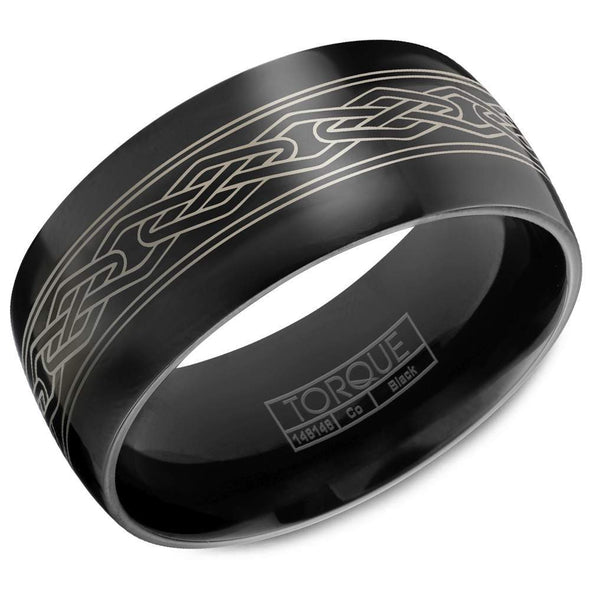 Gents Black Cobalt Wedding Band w/ Polished Finish & Patterned Center CBB-7009 (9mm)