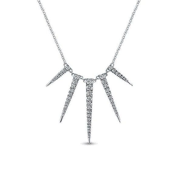 14K White Gold Spike Pavé Diamond Fashion Necklace