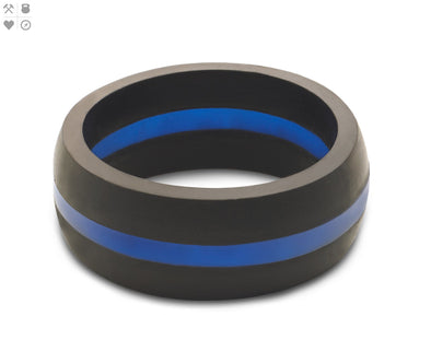 Gents QALO Blue Line Silicone Band