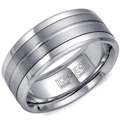 Gents White Cobalt Wedding Band w/ Brushed Detailing CB-1113 (9mm)