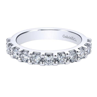 Ladies 14K White Gold Round Straight Anniversary Band