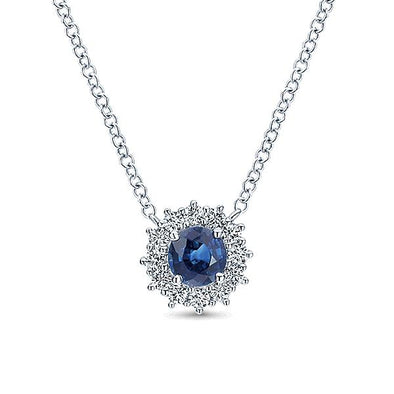 14K White Gold Diamond And Sapphire Necklace