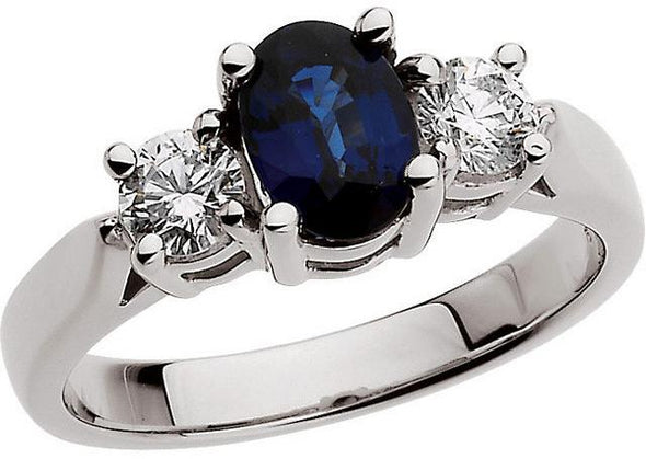 14K White Gold Contemporary Three Stone Blue Sapphire and Diamond Engagement Ring