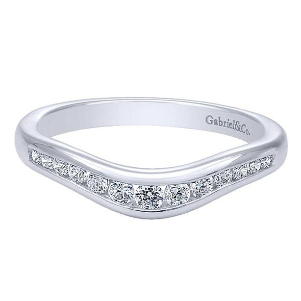 Ladies 14K White Gold Round Curved Channel Anniversary Band