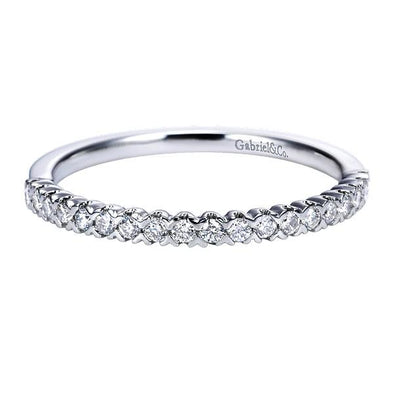 Ladies 14K White Gold Round Straight Slender Anniversary Band