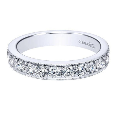 Ladies 14K White Gold Round Diamond Straight Anniversary Band
