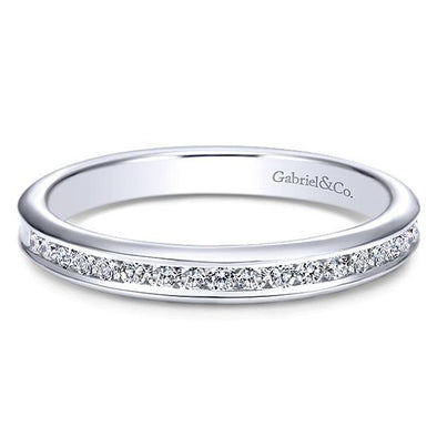 Ladies 14K White Gold Round Channel Anniversary Band