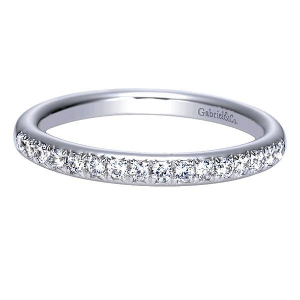 Ladies 14K White Gold Round Curved Diamond Anniversary Band