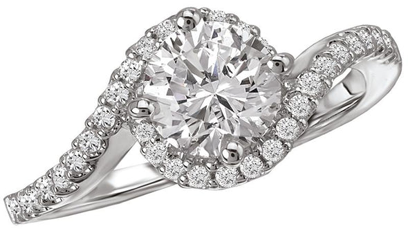 14K Contemporary Free-Form Oval Halo Engagement Ring