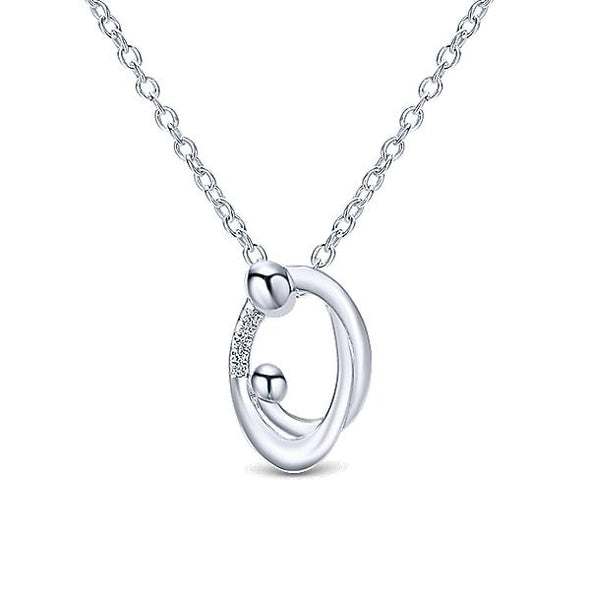 925 Silver Diamond Mother And Child Pendant
