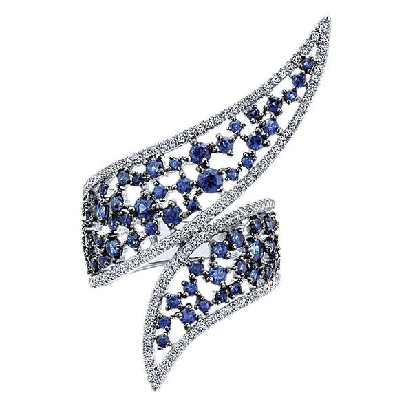 Gabriel NY Ladies 14K White Gold Diamond And Sapphire Fashion Ring LR50949W45SA