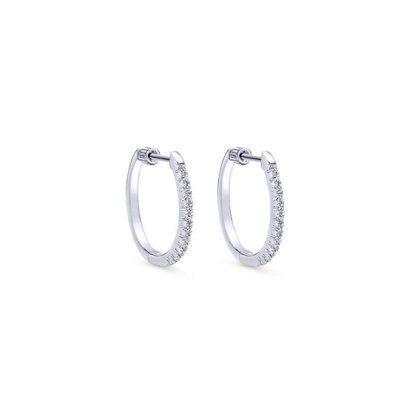 Gabriel NY 14k White Gold Diamond Hoop Earrings 1/4 Carat