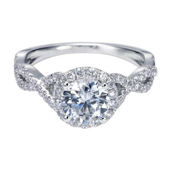 14K Contemporary Twist Shank Diamond Halo Engagement Ring