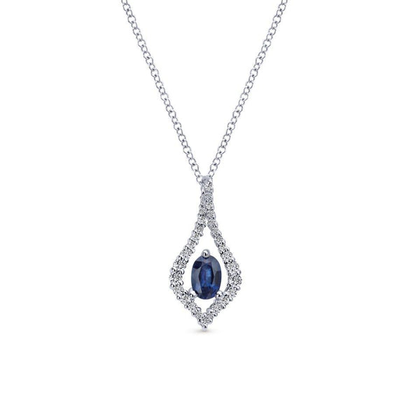 Gabriel NY 14k White Gold Ladies Blue Sapphire Diamond Teardrop Necklace