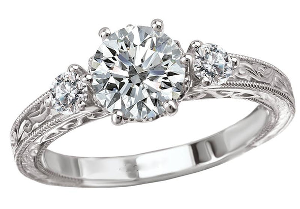 14K Vintage Three-Stone Engraved Band Diamond Engagement Ring