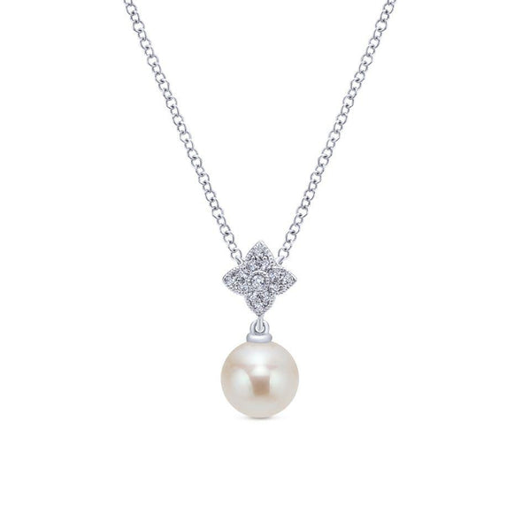 Gabriel NY 14k White Gold Ladies Cultured Pearl Drop Diamond Cluster Necklace