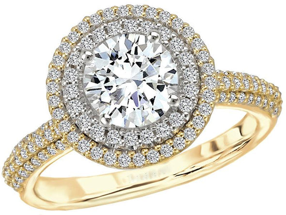 14K Contemporary Diamond-Encrusted Double Halo Engagement Ring