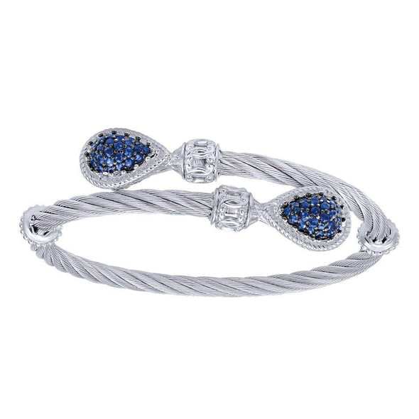 Gabriel NY 925 Silver/Stainless Steel Rope Twist Blue Sapphire Bangle