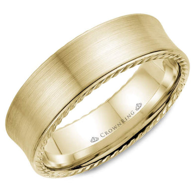 Gents 14K YG Wedding Band w/ Brushed Finish & Rope Detailing WB-008R7Y (7mm)