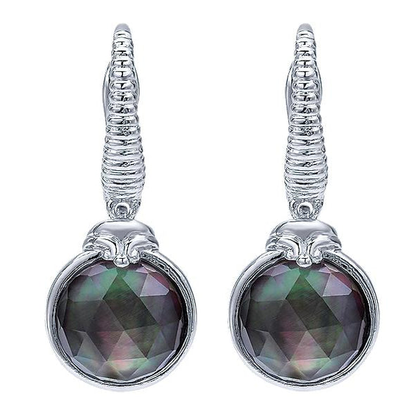 925 Silver Rock Crystal & Black Pearl Drops