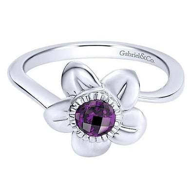 Gabriel NY Ladies 925 Silver Amethyst Fashion LR6848SVJAM