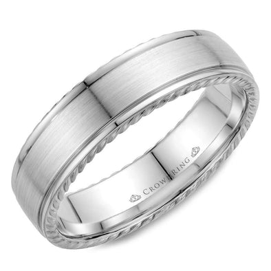 Gents 14K WG Wedding Band w/ Brushed Center & Rope Detailing WB-005R6W (6mm)