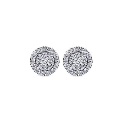 Gabriel NY 14k White Gold Double Halo Diamond Stud Earrings