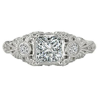 18k Designer DEF Square Moissanite & Diamond Art Deco Engagement Ring NEW 1.25cts