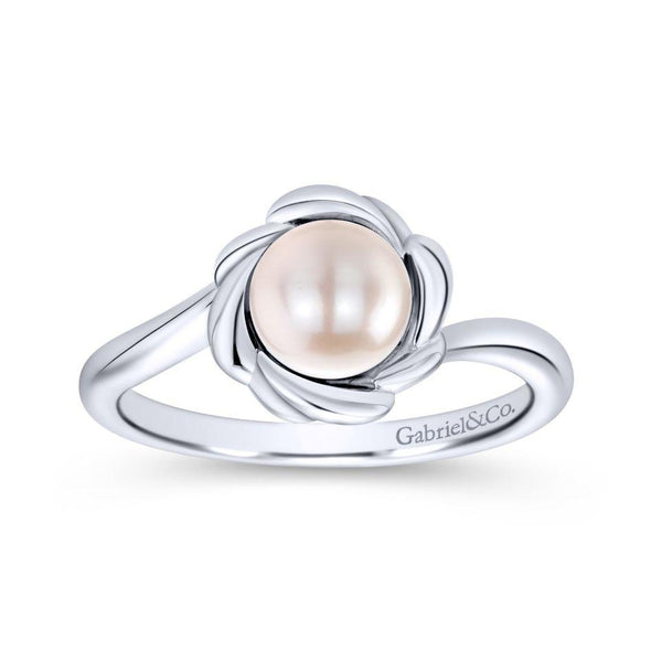 Gabriel NY 925 Silver Luminous Cultured Pearl Floral Ring