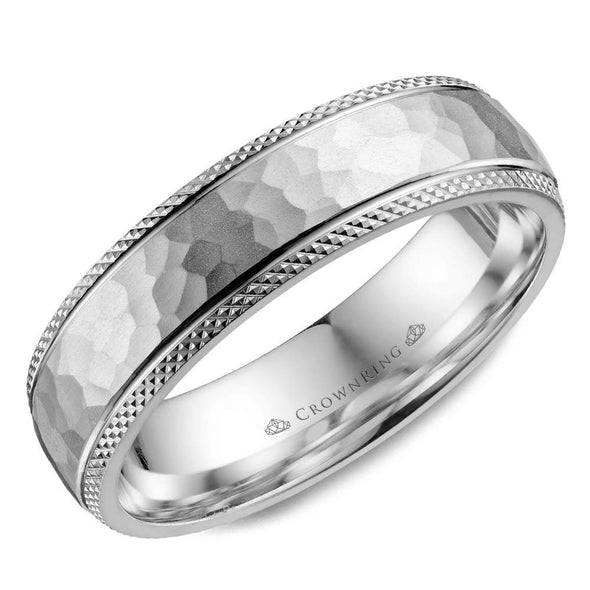 Gents 14K WG Wedding Band w/ Hammered Center & Textured Edges WB-035C6W (6mm)