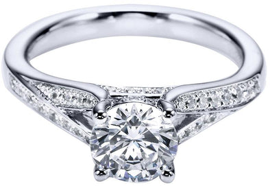 14K Contemporary Split Shank Diamond Engagement Ring
