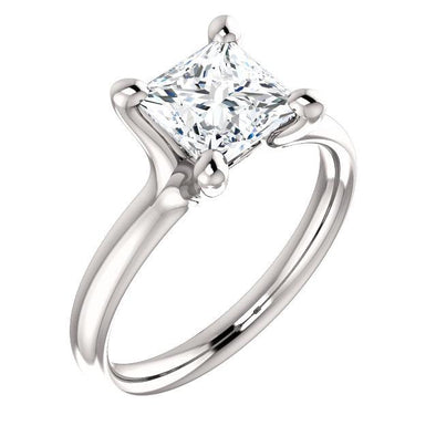 950 Platinum DEF Princess Square Cut 1.5ct 6.5mm Moissanite Tension Solitaire NEW