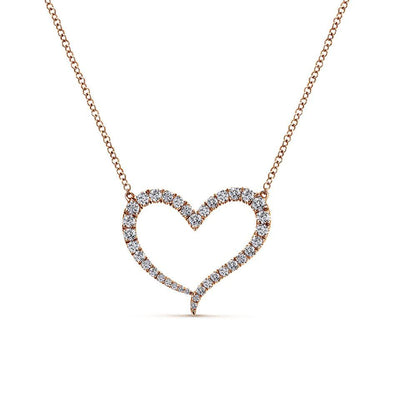 Gabriel NY 14k Rose Gold Ladies Heart Diamond Pendant Necklace
