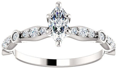 14K White Gold Vintage Marquise Six Prong Diamond Engagement Ring