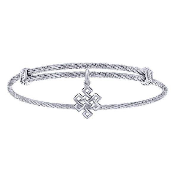 Gabriel NY 925 Silver/Stainless Steel Endless Knot Charm Bangle
