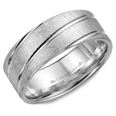 Gents 14K WG Wedding Band w/ Diamond Brushed Finish & Diagonal Line Detailing WB-7937 (8mm)