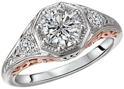14K Vintage Two-Tone Octagon Halo Diamond Engagement Ring