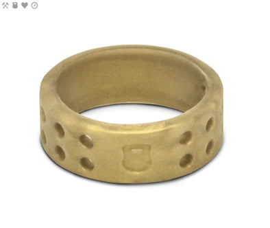 Ladies QALO Gold Perforated Silicone Band