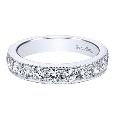 Ladies 14K White Gold Straight Milgrain Diamond Anniversary Band