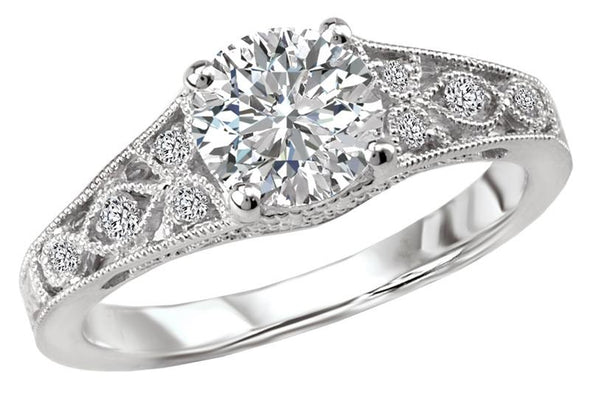 14K Nature Inspired Cut-Out and Filigree Band Diamond Engagement Ring