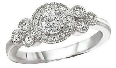 14K White Gold Vintage Milgrain Diamond Halo Engagement Ring